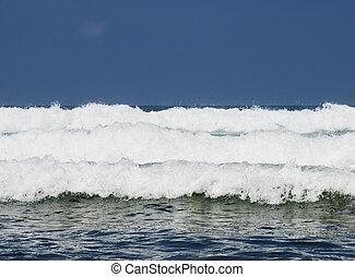 Three waves - Three ocean waves breaking with clean blue sky...