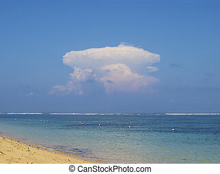 Atomic explosion like cloud - View on ocean with atomic...