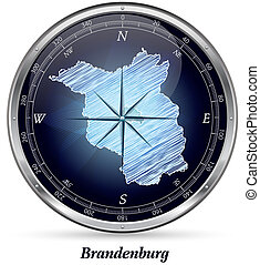 Map of Brandenburg with borders in chrome
