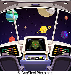 Spaceship cartoon interior - Flying spaceship cabin...