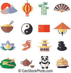 China icons set - China travel asian traditional culture...