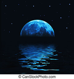Big blue moon reflected in water wavy surface