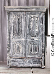 Hand crafted grey wooden wardrobe