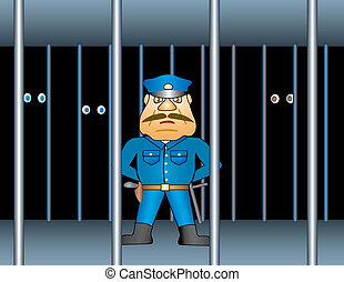 Prison proctor. Background  Illustration