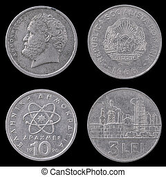 Two Old European Coins on a Black Background. - Obverse and...