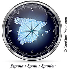 Map of Spain with borders in chrome