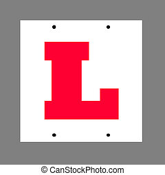 "Learner driver plate - Learner driver, ""L\"" plate, isolated..."