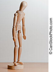 Im cheerless - Melancholy puppet made of wood with white...