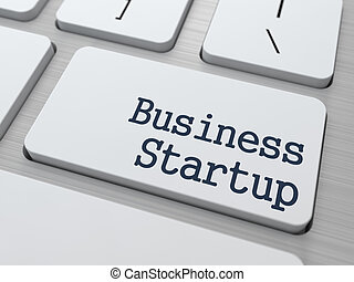 Business Startup on White Keyboard Button - Business Startup...