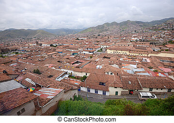 Cuzco - a view of red roofs in a historic area of Cuzco in...