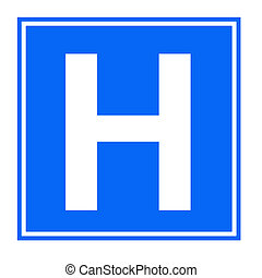 Hospital sign - Blue hospital sign isolated on white...