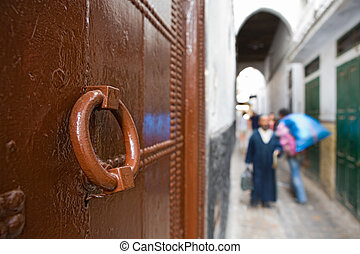 Brown door - Streets of the medieval medina of Tetouan,...