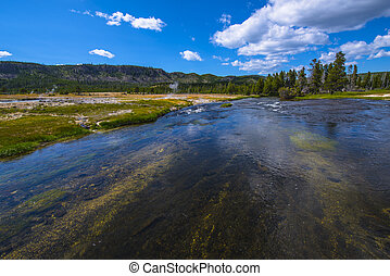 Firehole River - Wide angle shot of Firehole River...