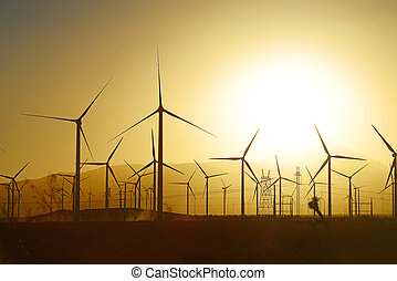 wind farm - wind mill farm in california desert