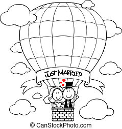 bridal couple on hot air balloon cartoon isolated on white...