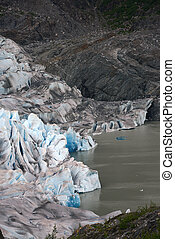 glacier in alaska - Ice crack feature at Mendenhall Glacier...
