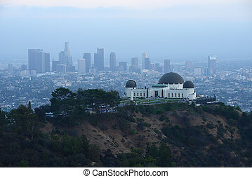 griffith observatory with los angeles downtown