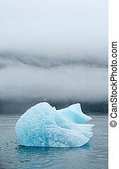 blue iceberg floating in alaska