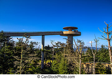 Clingmans Dome lookout tower at the tallest point of the...