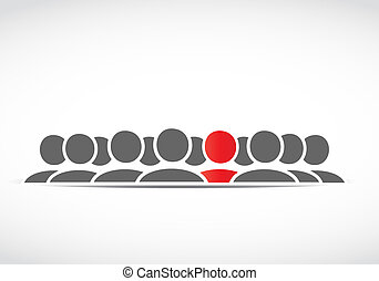 standing out people, large group vector
