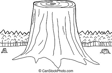 Outlined Tree Trunks - Hand drawn outline of three tree...
