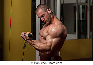 Biceps Exercise - Young Bodybuilder Doing Heavy Weight...