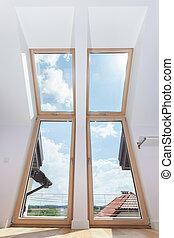 Big terrace doors with roof windows