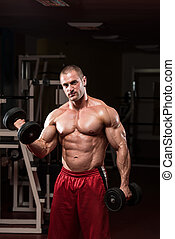 Bodybuilder Exercise With Dumbbells - Bodybuilder Working...