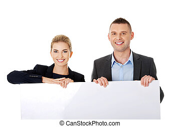 Business team with a banner