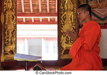 A monk praying in Laos temple - A monk praying in front of...