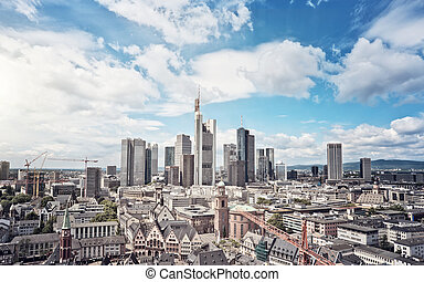Frankurt Skyline - Skyline of Frankfurt am Main, Germany,...