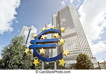 Euro ECB - Euro Sign in front of the European Central Bank...