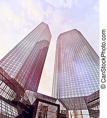office towers - modern glass and steeel office towers in...
