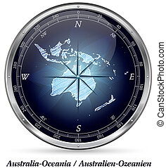 Map of australia-oceania with borders in chrome