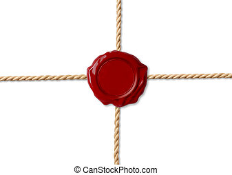 Red wax seal over crossed ropes isolated