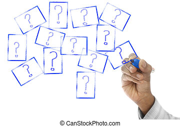 Many Question Marks are drawn on transparent wipe board