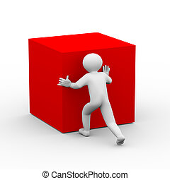 3d person pushing red cube - 3d illustration of man pushing...