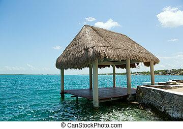Palapa,  bacalar, lago,  waterer,  México