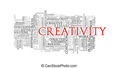 Word tags wordcloud of creativity