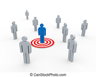 3d buyer targeted - 3d illustration of man on target from...