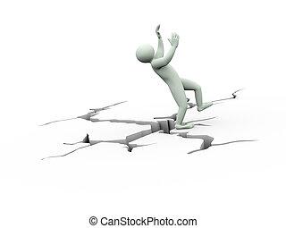 3d disbalance man on cracked ground