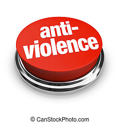 Anti-Violence Protest Red Round Button End Fighting War -...