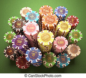 Casino Chips - Colorful chips on a green table. Concept of...