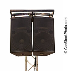 Large powerful Audio Speakers on tripod In the meeting room