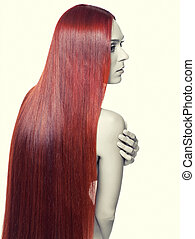 Woman with long red hair - Portrait of beautiful young woman...