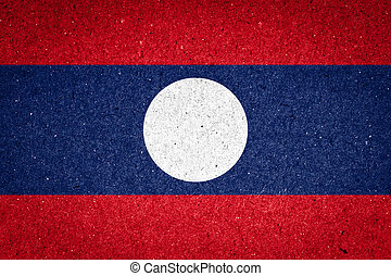 Laos flag on paper background