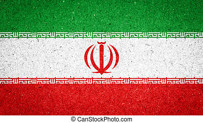 Iran flag on paper background
