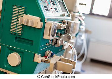 Dialysis - a dialyser or hemodialysis machine in an hospital...