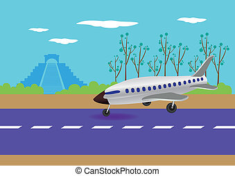 Airplane Landing in Mexico Vector Illustration - Vector...