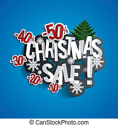 Christmas Sale Design On Blue Background vector illustration